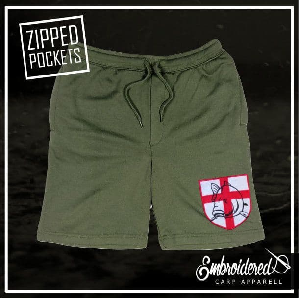 021 EMBROIDERED OLIVE SHORTS