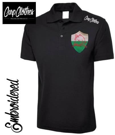 022 EMBROIDERED CARP FISHING POLO SHIRT  BLACK - PLUS SIZE