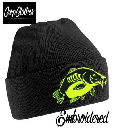 023 EMBROIDERED CARP CLOTHES BEANIE - BLACK