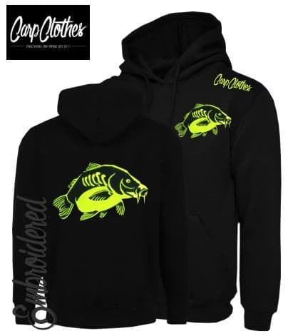 023 EMBROIDERED CARP FISHING HOODIE BLACK