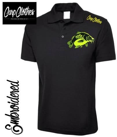 023 EMBROIDERED CARP FISHING POLO SHIRT  BLACK - PLUS SIZE