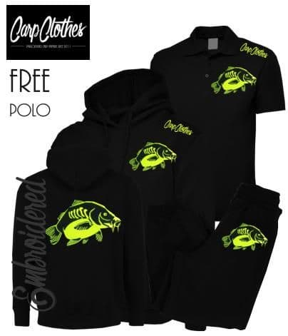 023 EMBROIDERED CARP PACKAGE BLACK  **FREE POLO SHIRT**
