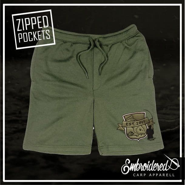 029 EMBROIDERED OLIVE SHORTS