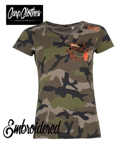 029 LADIES EMBROIDERED CAMO T-SHIRT