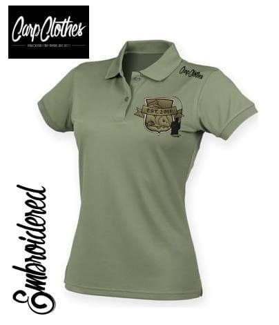 029 LADIES EMBROIDERED COOL POLO OLIVE