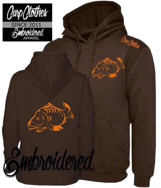 CLR001 EMBROIDERED CARP HOODIE BROWN