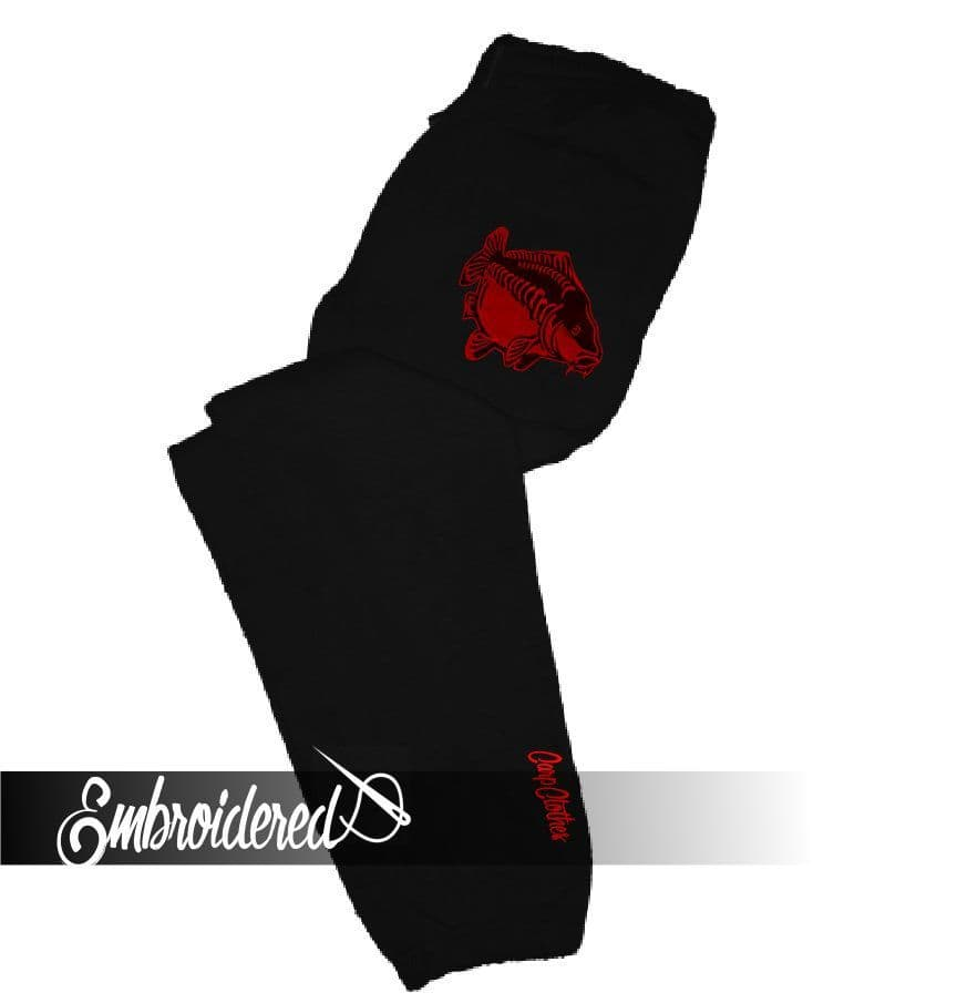 CLR009 EMBROIDERED JOGGERS BLACK/RED