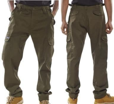 OLIVE POLYCOTTON CARGO TROUSER