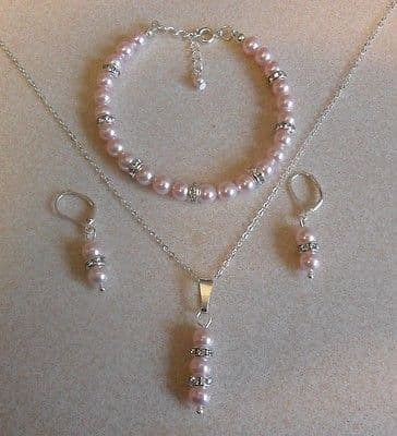 Baby Pink Pearl & Crystal Rondelle 3 piece set Sterling Silver
