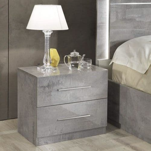 Abney Grey High Gloss 2 Drawer Bedside Table