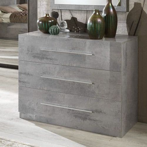 Abney Grey High Gloss 3 Drawer Chest