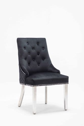 Adele Black French Velvet Knocker Back Dining Chair