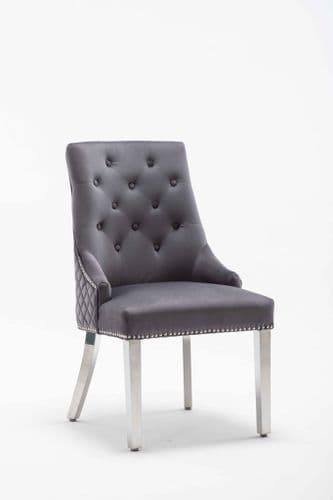 Adele Dark Grey French Velvet Knocker Back Dining Chair