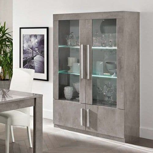 Adria 116cm Wide  Grey Marble High Gloss Display Cabinet