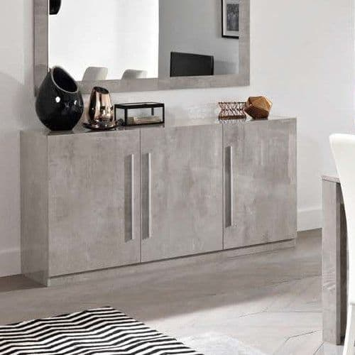 Adria High Gloss Grey Marble Sideboard 156cm