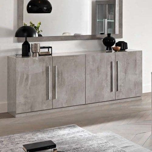 Adria High Gloss Grey Marble Sideboard 208cm