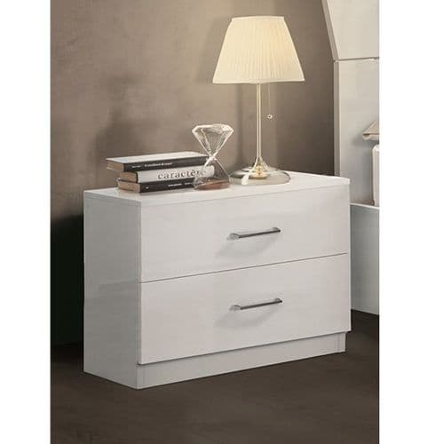 Alana White Gloss 2 Drawer Bedside Table