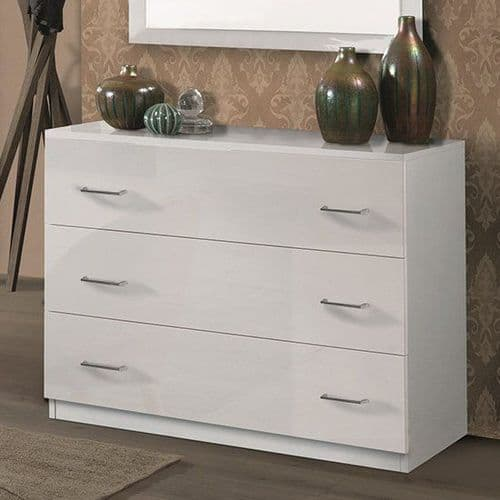 Alana White Gloss 3 Drawer Chest