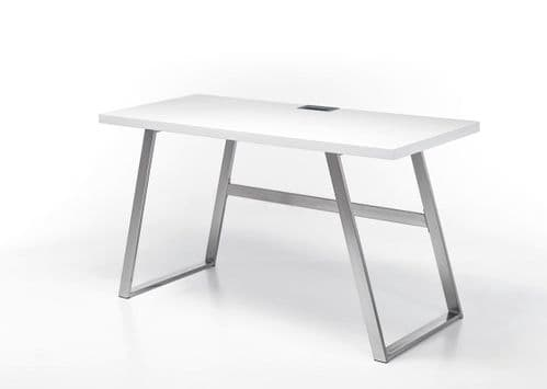 Alfie 140cm White And Stainless Steel Office Desk