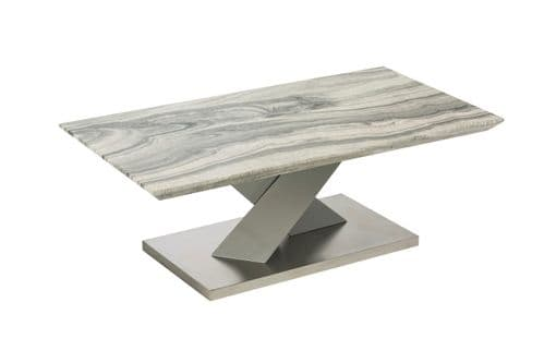 Amile 110cm White And Grey Coffee Table With Granite Effect Top
