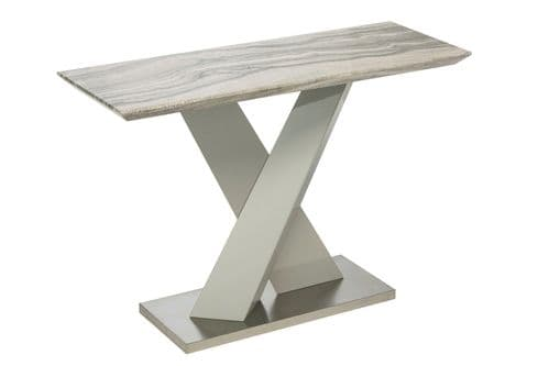 Amile 110cm White And Grey Console Table With Granite Effect Top