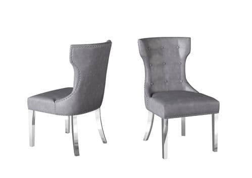 Andona Grey Cloudy Leather Dining Chair