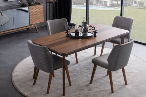 Angelika 185cm Walnut And Grey Dining Table