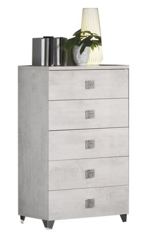 Anisa Pale Grey High Gloss Tall Narrow  Chest Of Drawers