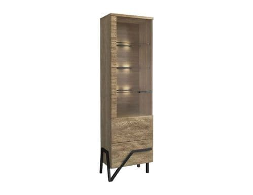 Apika LH Single Solid Oak Wooden Assembled Display Cabinet