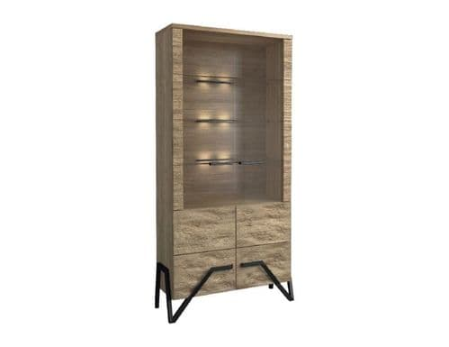 Apika Solid Oak Wooden Assembled Display Cabinet