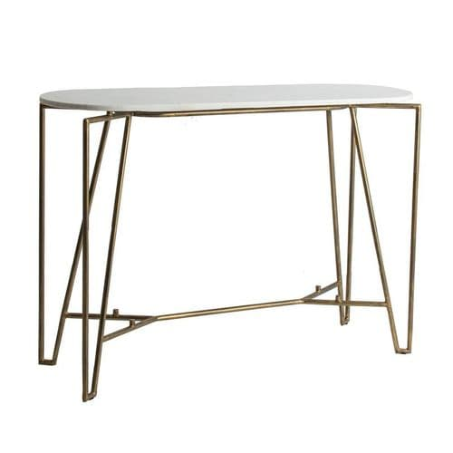 Arbus White Marble And Gold Console Table