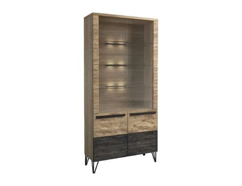 Arrito Robust Assembled Wood Double Display  Cabinet