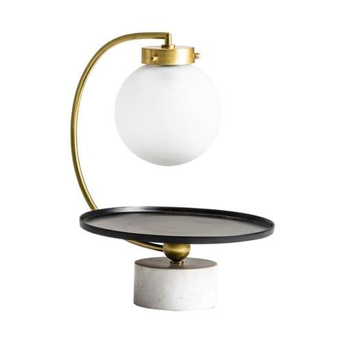 Art Deco Style Marble And Glass Table Lamp