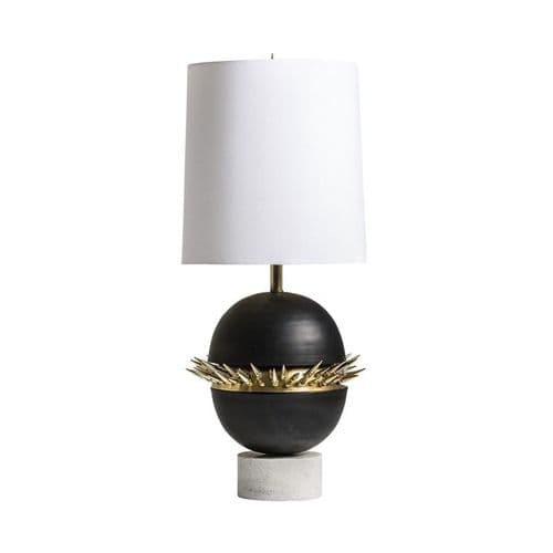 Art Deco White Black And Gold Table Lamp