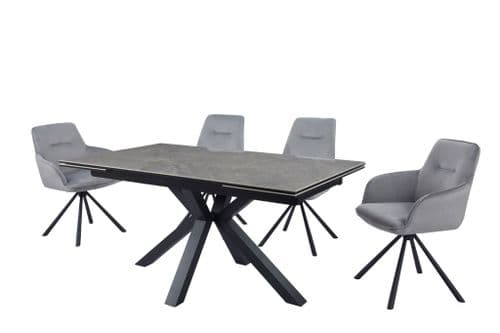 Astari 160cm-240cm Extending Ceramic Dining Table With Marble Effect
