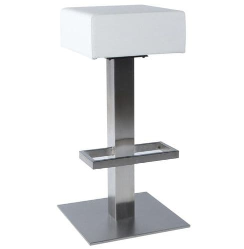 Bebo White Padded Backless Bar Stool