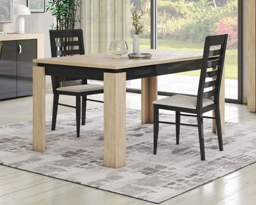 Bellevue  Italian 160cm -200cm Grey And Oak Extending Dining Table And Chairs
