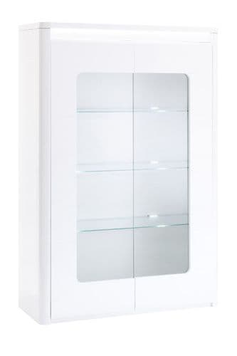 Beluse 120cm  Wide White Gloss Glass 2 Door Display Cabinet With LED