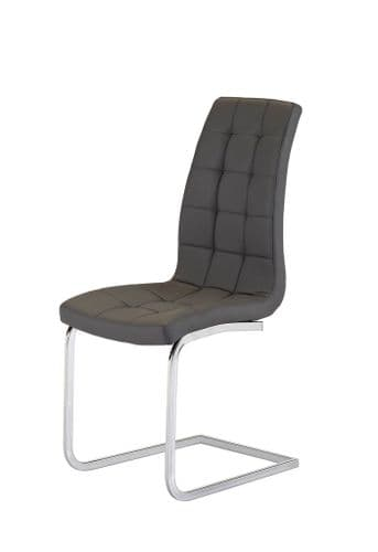 Benjy Dark Grey Padded Leather Dining Chair
