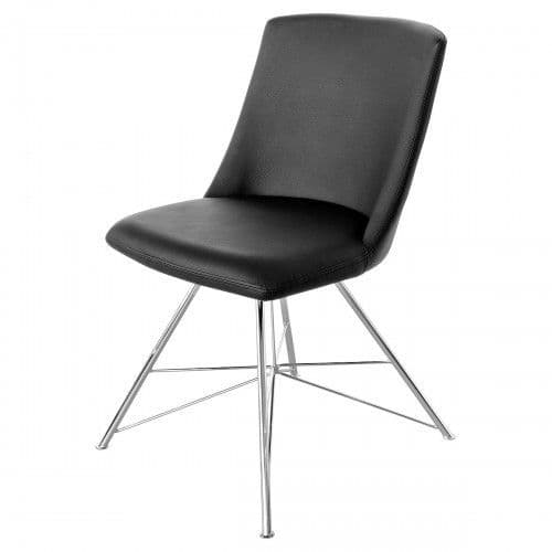 Beverly Pair Of Black Leather Dining Chair