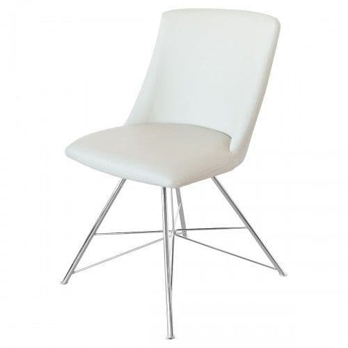 Beverly Pair Of Cream Leather Dining Chair