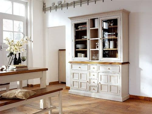 Boe 166cm Antiqued White And Pine Display Cabinet