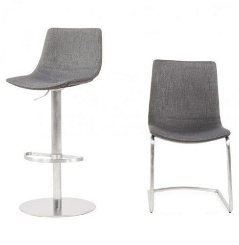 Bronte Grey Fabric And Chrome Dining Chair