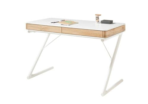 Buktar 120cm Matt White Office Desk With Oak Trim