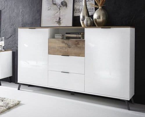 Carcy 150cm White High Gloss And Oak Sideboard