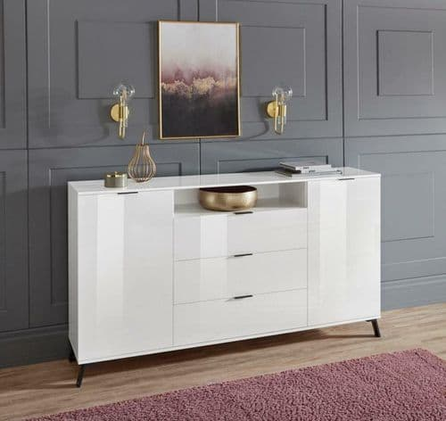 Carcy 150cm White High Gloss Sideboard