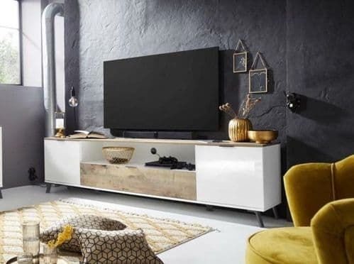 Carcy 220cm White High Gloss And Oak TV Stand