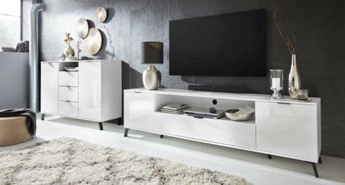 Carcy 220cm White High Gloss TV Stand