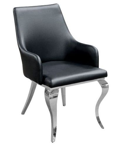 Carolina Black Leather Dining Chair With Chrome Legs