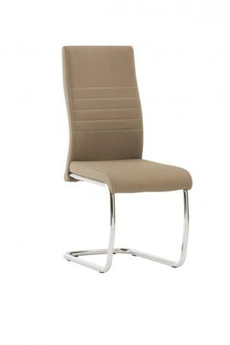Cassandra Taupe Faux Leather Dining Chair